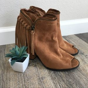 Dolce Vita Brown Open Toed Fringe Booties